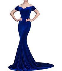 lemai mermaid off shoulder v neck long velvet prom evening dresses royal blue us