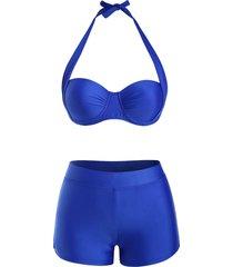 halter underwire boyshorts push up bikini swimwear