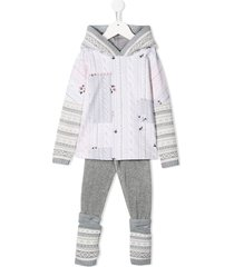 lapin house multi-patterned hooded tracksuit set - white