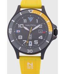 reloj amarillo-negro-multicolor nautica