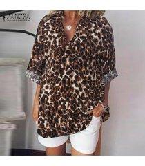 zanzea mujeres del estampado leopardo de fiesta largo de la manga clubwear tops camisas de la blusa del tamaño extra grande -marrón