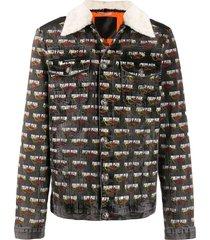 philipp plein flame denim jacket - black
