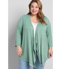 lane bryant women's lane essentials chiffon-trim drape-front cardigan 34/36 lush palm