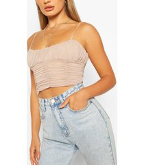 mesh panelled detail cami top, stone
