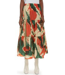 women's kenzo brushed camo print tiered midi skirt, size 14 us - red