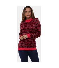 blusa  pink tricot com gola alta e estampa étnica de tricô feminina