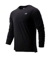 camiseta manga longa new balance accelerate masculina preto - gg