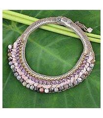 amethyst and rose quartz beaded choker, 'mystify' (thailand)