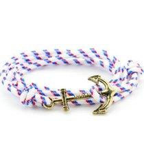 unisex multilayer handmade rope wristband anchor bracelet white-silver