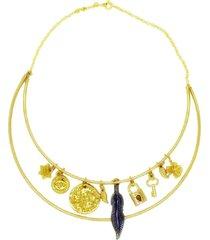 colar la madame co maxi colar dourado - dourado - feminino - dafiti