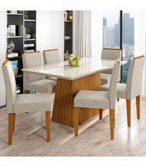 mesa de jantar 6 lugares bárbara 1229 100% mdf ypê/off white/wd22 - new ceval