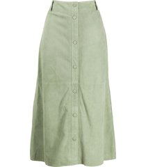 arma button front skirt - green