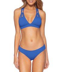 women's becca shirred hipster bikini bottoms, size small - blue