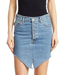asymmetric side-cut denim skirt