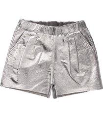 douuod short in laminated silver short sweatshirt