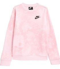 nike sportswear kids' magic club tie dye sweatshirt in pink foam at nordstrom