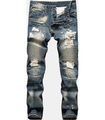 jeans slim fit strappati per uomo slim fit con taglio dritto