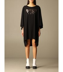 diesel dress over diesel dress in cotton with big laminated logo