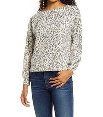 women's bobeau emmanuel print sweatshirt, size x-large - beige