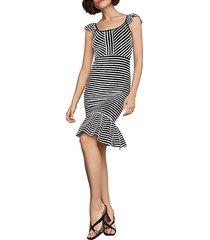 striped bodycon flounced dress