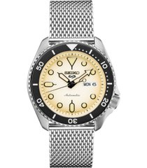 seiko men's automatic 5 sports stainless steel mesh bracelet watch 42.5mm
