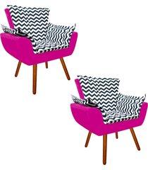 85bb399648 kit 02 poltrona decorativa opala suede composê estampado zig zag azul  marinho d02 e suede pink