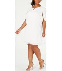connected plus size embellished split-sleeve shift dress