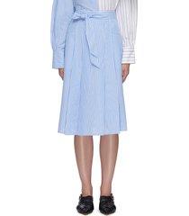 striped waist tie midi skirt