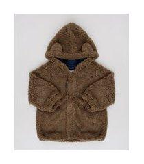 casaco infantil em pelo com capuz e orelhinhas marrom