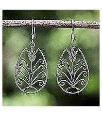 sterling silver dangle earrings, 'thai tulip' (thailand)