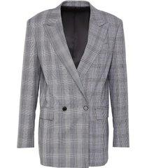 peak lapel double breast check wool blazer