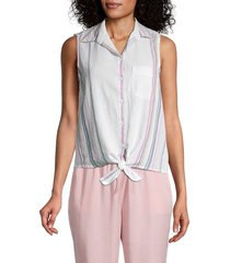 beach lunch lounge women's janera striped tie-knot shirt - pink cascade - size s