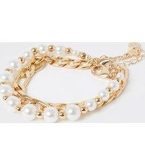 river island womens gold colour pearl bracelet 2 pack