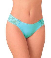 calcinha tanga vip lingerie com renda e laço bolinha azul