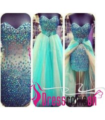 charming high low sweetheart beaded prom dresses/evening/cocktail/party dress q5