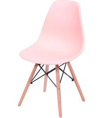 cadeira dkr polipropileno e base de madeira lawang – salmão
