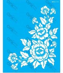 stencil opa 20x25 cantoneira flor 2582