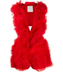loulou tulle single-breasted gilet - red
