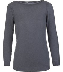 fedeli woman anthracite cashmere pullover with boat neck