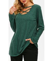 crisscross cutout tunic top