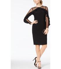 r & m richards illusion-sleeve dress