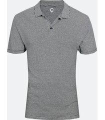 t-shirt i linne- och bomullsblandning - mörkblå