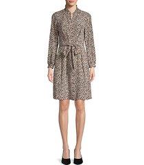 leopard-print silk button-front dress