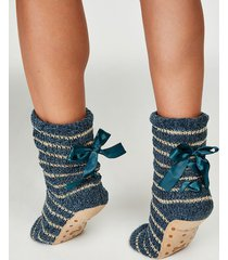 hunkemöller ballerinasockor lace-up blå