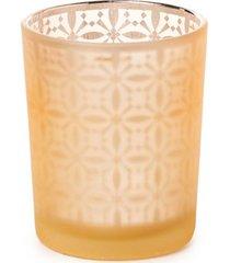 copo porta vela decoração natal em vidro 7cm cor dourado