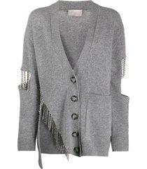 crystal cupchain cardigan, grey