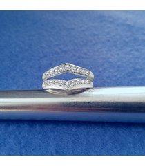 0.18 ct round diamond 925 silver enhancer wrap engagement ring 14k white gold fn