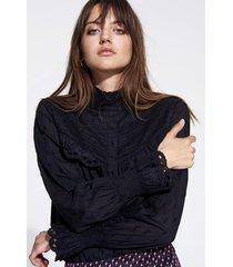 alix 198905402 ladies woven broderie blouse. zwart