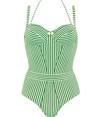 holi vintage plunge balcony bathing suit | wired padded green-ivory - 32d