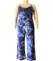 derek heart trendy plus size o-ring-detail printed jumpsuit